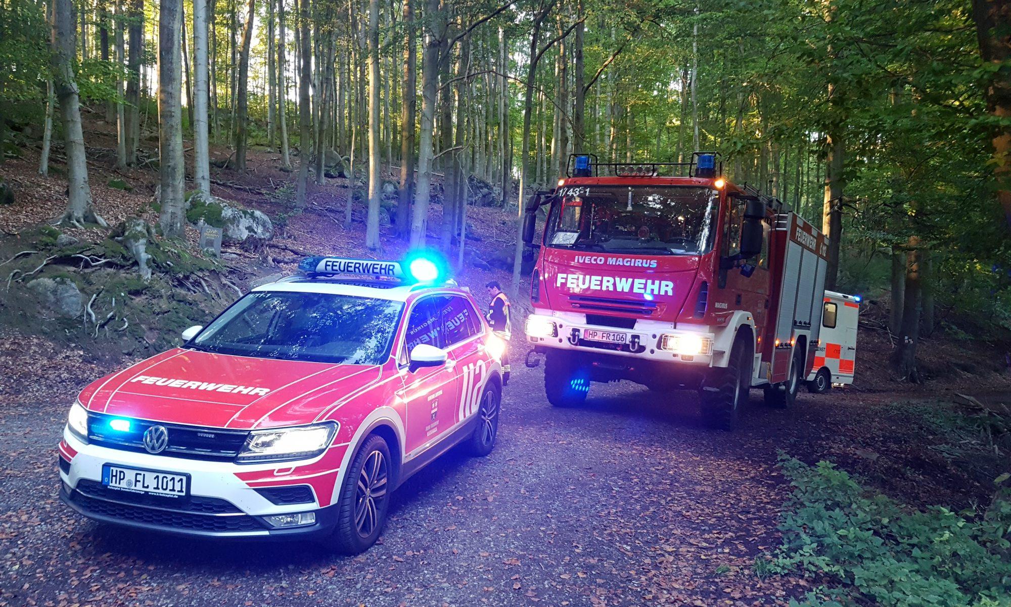 ELW mit LF 10/6 und RTW im Felsberg unterhalb Rettungspunkt 6